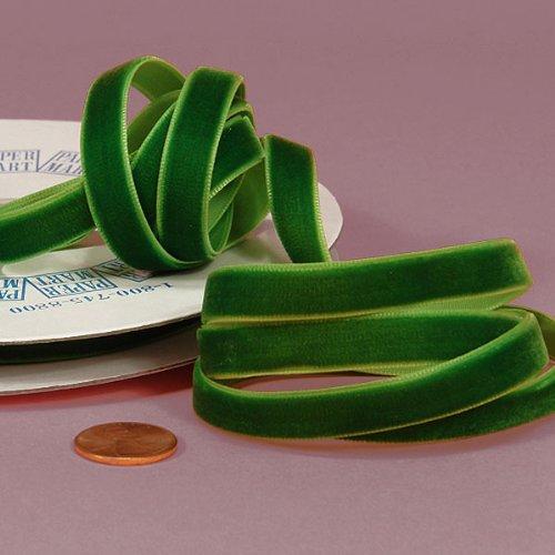 "Emerald Green Velvet Ribbon, 3/8"" X 25Yd"