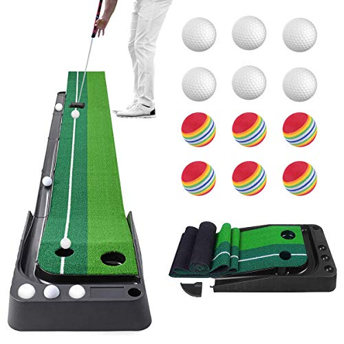 Golf Putting Green with Ball Return, Portable Golf Putting Mat for Backyard, Mini Golf Practice Training Aid Set, Alignment Training Equipment for Home, Office, Outdoor Use, 118 in, 12 Bonus Balls