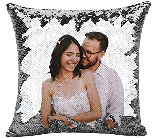 deutschwaren Custom Pillow, Personalized Sequin Pillow with Your Photos (Including Pillow Insertion) Wedding Keepsake Pillow Magic Reversible Home Decor Personalized Customized Gifts (Sliver)