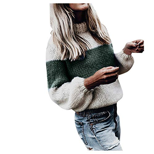 Women's Pullover Sweater,Ladies Turtleneck Chunky Knitted Loose Splicing Patchwork Casual Lantern Sleeve Jumpers Knitwear