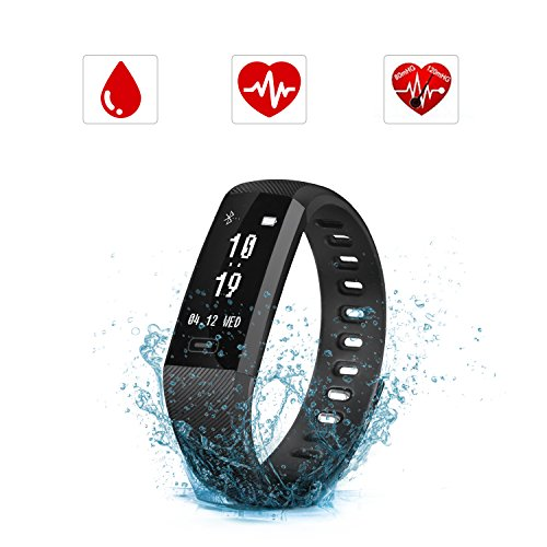 SAVFY Fitness Tracker, IP67 Waterproof Activity Tracker Blood Pressure & Oxygen Monitor Heart Rate Monitor Sports Wristband for Android iOS