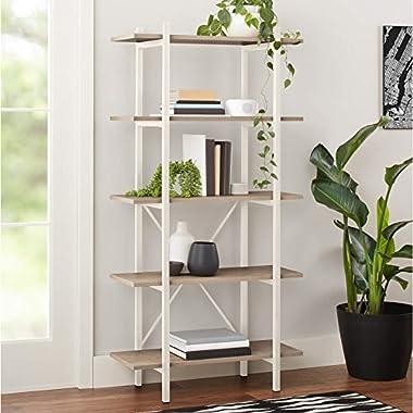 Conrad 5-Shelf Bookcase, White Frame