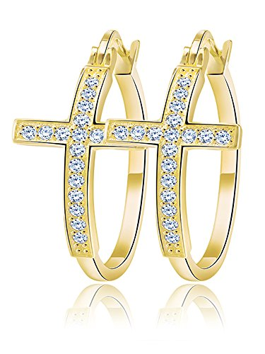 Religious Cross Hoop Earrings for Women Cubic Zirconia Gold Plated by Ginger Lyne Collection