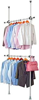 LUBAN King Adjustable Garment Racks with 2-Tiers Heavy Duty Hang Clothes Rack for Storage and Display, Closet Organizer 220 lb Load with 30