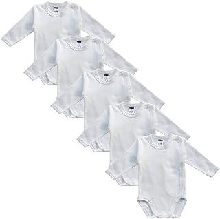 MEA BABY Unisex Baby Langarm Wickelbody aus 100% Bio-Baumwolle im 5er Pack, Baby Wickelbody Weiß Creme, Baby Wickelbody weiß für Mädchen, Baby Body weiß für Jungen.