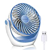 USB Fan, OCOOPA USB Desk Fan Table Fan with Strong Airflow & Quiet Operation, Portable Cooling Fan Speed Adjustable 360°Rotatable Head for Home Office Bedroom Table and Desktop
