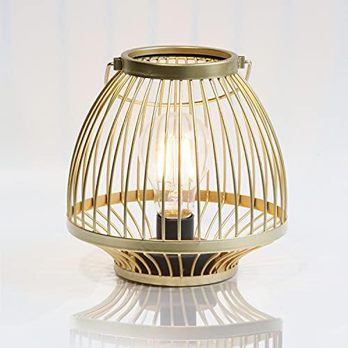 MJ PREMIER Lámpara de mesa, lámpara de mesa dorada de metal con pilas, estilo jaula, lámpara de mesa inalámbrica, lámpara de mesa para dormitorio, salón, entrada, interior y exterior