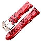 MOLUO Correa de Reloj de 22 mm de 24 mm de 6 Colores de Cuero Genuino Ver Banda cráneo Hueco Hebilla Las Pulseras de la Correa de Accesorios (Band Color : Red, Band Width : 22mm)