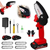 Handheld Cordless Chainsaw With Charger And 2 Battery Mini 4-Inch Electric Portable Chain Saws Hand 0.7kg Lightweight Pruning Shears Chainsaw For Garden Tree Trimming Wood Cutting,red