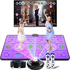 BLAVOR Dance Mat Double Game for Adult Kids Boys Girls Dance Floor Portable Musical Blanket Pad Baby Touch Safety Early Education Toys 100 Plus Games, English MTV&Cartoon Mode Options (36.6 X65.4 in)