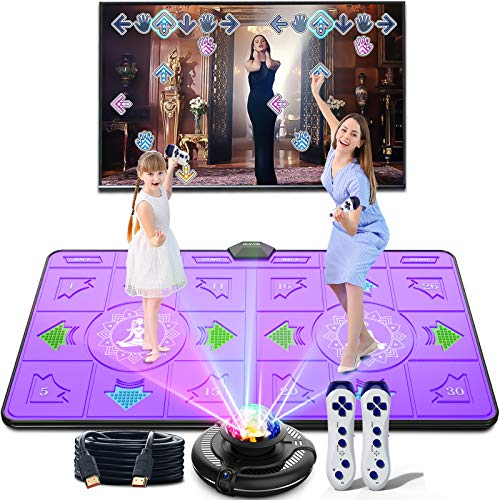 BLAVOR Dance Mat Double Game for Adult Kids Boys Girls Dance Floor Portable Musical Blanket Pad Baby Touch Safety Early Education Toys 100 Plus Games, MTV&Cartoon Mode Options