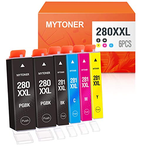 Price comparison product image MYTONER Compatible Ink Cartridge Replacement for Canon PGI-280XXL CLI-281XXL PGI280 XXL CLI281XXL for PIXMA TR7520 TR8520 TS6120 TS6220 TS8120 TS8220 TS9120 TS9520 TS6320 TS9521C Printer (6-Pack)