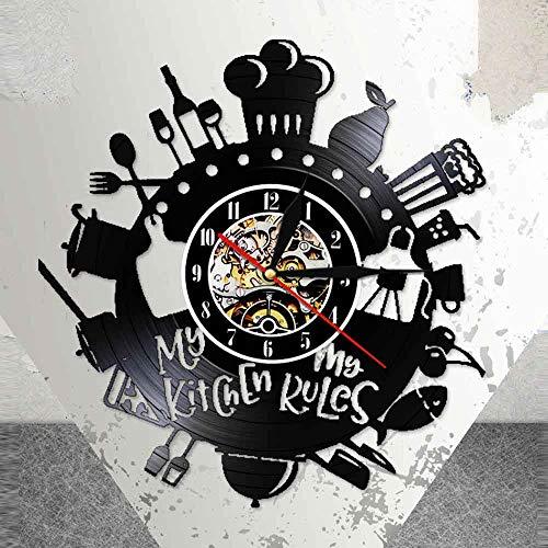 BFMBCHDJ Mi Cocina Mis Papeles Silencio Moderno Disco de Vinilo Reloj de Pared Herramientas de Cocina Reloj Colgante Negro Comedor Decoración de Arte Regalo para Chef con LED 12 Pulgadas