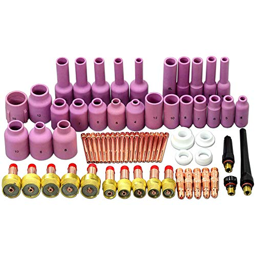 Alffun 67pcs TIG Gas Lens Back Cap Collet Body Assorted Size Kit Alumina Nozzle Fit TIG Welding Torch SR WP17 18 26