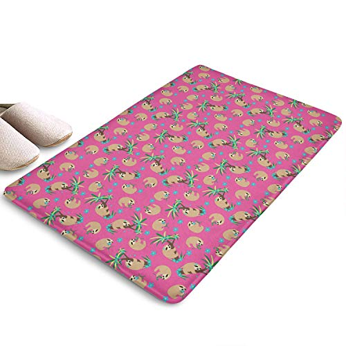 LunchBaggg Animals Hot Pink Sloth Hugs 31 Inches X 19 Inches Door Mat Must Kitchen Doormat Super Absorbs Easy to Dry