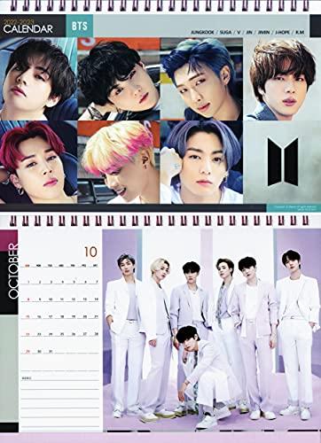 防弾少年団 BTS グッズ 卓上 カレンダー ( 写真集 ピンク 卓上カレンダー ) 2022~2023年(2年分) + ステッカーセット