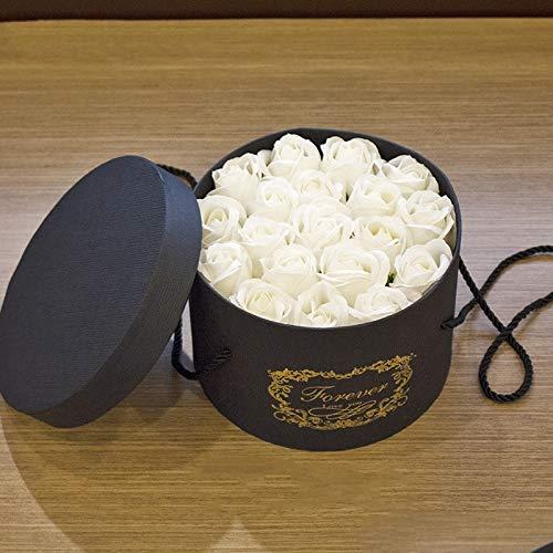 Yuhualiyi123 Valentinstag Blumen Geschenk 19 Seife Rosen Runde Geschenkbox Lehrertag Freundin Geschenke Handarbeit senden 1 Schachtel
