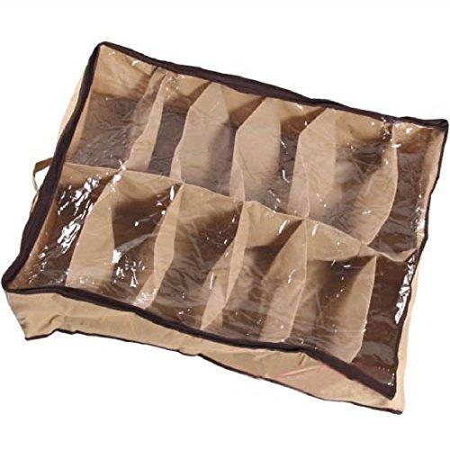 Luwu-Store 12 Fälle Schuhe Speicher Organizer Schuhe Halter Tasche Box Unter Bett Schrank Braun