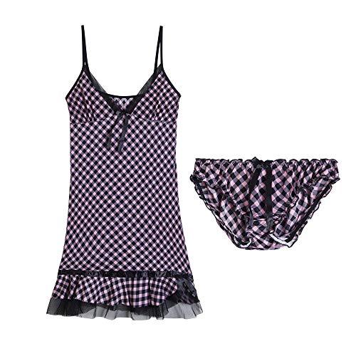 Sexy Unterwäsche Damen Erotik Set Schritt Offen Sexy Dessous Sexy Spitze Low-Cut V-Ausschnitt Schlinge Seide Pyjama Damen Nachthemd @ B_One Größe