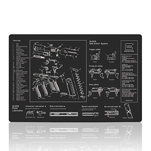 Gaming Mouse Pad Large Square Extended Mouse pad XL Gun Cleaning Pad Mat Premium-Textured Mouse Mat for Laptop Computer (Black GlockBA)