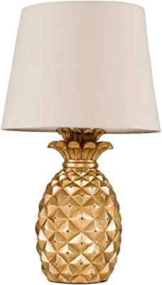 Contemporary Pineapple Design Table Lamp in a Gold Effect Finish with a Beige Tapered Shade - Complete with 4w LED Golfball Bulbs [3000K Warm White]