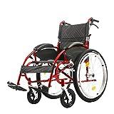 RUIVE - Silla de ruedas plegable de aluminio con estructura de aluminio y autopropulsada manualmente, para deportes al aire libre, color rojo 13 kg