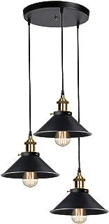 Lámpara de Techo Industrial Vintage, Edison Lámpara de Techo E27, Negro Metal Pantallas, Cable Ajustable Máximo 1 m, 3 Pcs