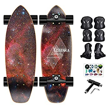 30 inch Slide Street Surf Skateboard Longboard Skateboard Cruiser with All-in-one T-Tool and Protective Gear for Kids Teen Adults