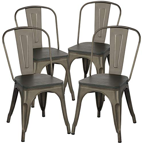 Yaheetech Barhocker mit Holz-Sitzfläche 4er Set Esszimmerstuhl Bistrostuhl Metallstuhl bis 150 kg belastbar Garten Balkon Wiese