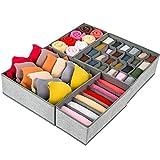 Drawer Organizer, 4 Set Foldable Underwear Drawer Organizer and Closet Dividers, Storage Box for Clothes, Socks, Underwear (4 Bins, Beige)
