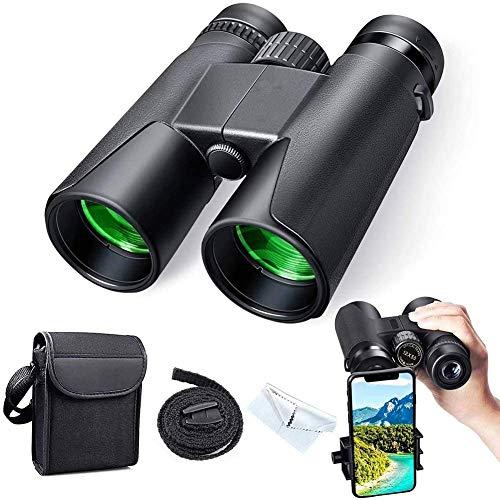 Binoculares para Adultos Regalos Binoculares de Alta Potencia 12x42 Binoculares para Adultos con Lente BAK4 FMC A Prueba de Niebla e Impermeable Ideal para observación de Aves Viajes Observación de e