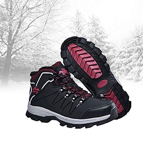 PYapron Elektrischer Fußwärmer Beheizte Schuhe mit 3 Temperaturstufen, Bequeme Plüsch-Schuhe Fuß Warm zu Halten, Weiche Schuhe Elektro-heizmatte Winter, Sichere Verwendung,Black red,Female 38