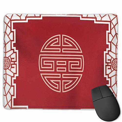 Nettes Gaming-Mauspad, Schreibtisch-Mauspad, kleines Mauspad für Laptop-Computer, Mausmatte Rot Chinesischer orientalischer Designknoten und Türgrenze Asiatisches Fenster Interieur Ost