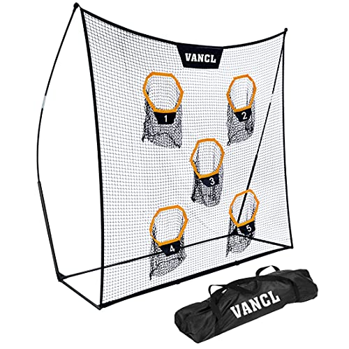 VANCL Football Training Net Portable 7X7ft Knotless Net for Improving QB Throwing Accuracy with 5 Target Pockets, with Carry Bag