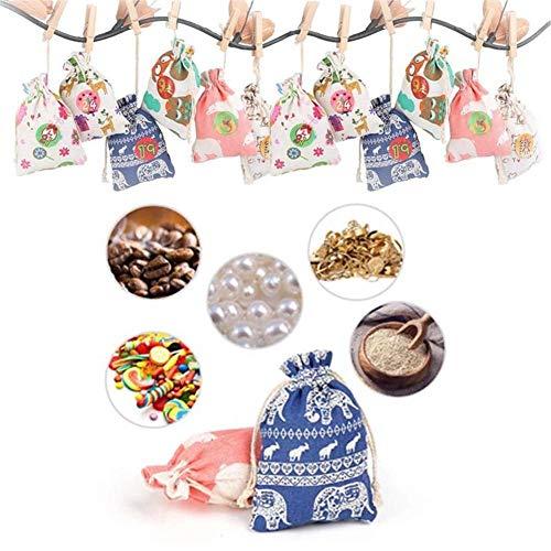 Seasons Shop Weihnachten umgekehrter Kalender-Bündel Süßigkeits-Verpackungs-Mund-Leinengeschenk-Beutelsatz 2019