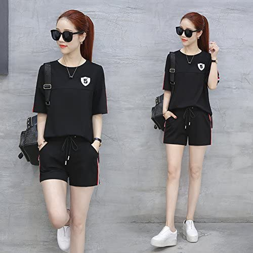 QNQA outdoor sports d'été costume mme loose short deux pièces summer mode fugitif,m,noir