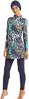 Ababalaya Womens Muslim Islamic Long Sleeve Tropical Print Burkini Full Cover Hijab Swimsuit