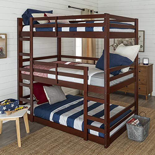 Walker Edison Alexander Classic Solid Wood Jr Twin over Twin Triple Bunk Bed, Twin over Twin, Espresso