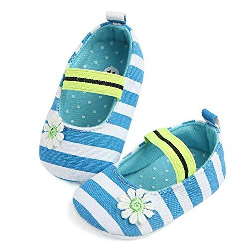 Baby shoes Chaussures bébé Mode d'été Mignon Premier Walker nouveau-né Fleur rayée Imprimer Princesse Chaussures, Taille: 13 cm (Bleu) (Couleur : Blue)