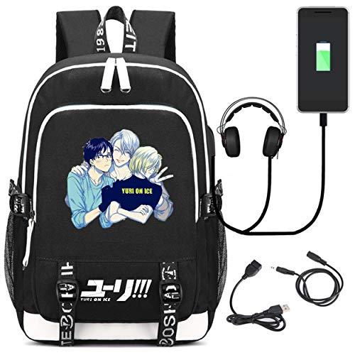 YOYOSHome Anime Yuri on Ice Mochila para cosplay, bolsa de hombro, mochila escolar con puerto de carga USB