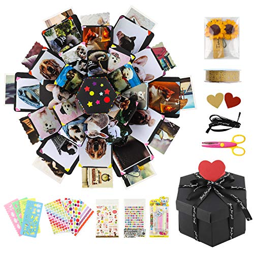 COAWG Creative Explosion Gift Box DIY - 6 Faces 6 Layer Surprise Photo Album for 36 Pitcures Birthday Anniversary Christmas Cute Boyfriend and Girlfriend Exploding Picture Scrapbook Romantic Wedding
