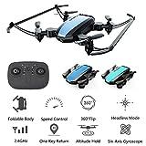 Mini drone pour les enfants et les débutants, 6 axes sans interface gyroscopique drone quadrirotor, FPV pliable drone RC, vol stationnaire automatique, jouet cadeau pour les garçons et les filles,Bleu