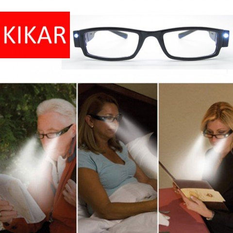 KIKAR - Gafas de lectura con luz LED con estuche resistente