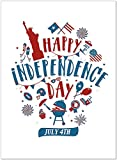 25 4th of July Greeting Cards - Patriotic Icons Design - 26 White Envelopes - FSC Mix