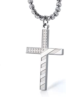 """Wolentty Stainless Steel Flag Cross Necklace Engrave Religious Philippians 4:13 Pendant with 24"""" Box Chain"""