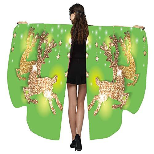 Andouy Damen Schmetterlingsflügel Schal Tuch Poncho Umhang Nymphe Pixie Flügel für Party Weihnachten Cosplay Karneval(168X135CM.Grün-1)