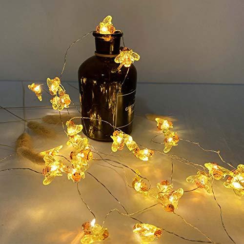 40 LED Honeybee Fairy String Lights Waterproof Battery Operated 8 Modes with Remote Control for Wedding, Party, Festival, Indoor, Outdoor (Honeybee)