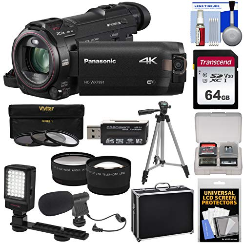 Panasonic HC-WXF991 Wi-Fi 4K Ultra HD Video Camera Camcorder with 64GB Card + Hard Case + Tripod + LED Light + Mic + Filters + Tele/Wide Lens Kit