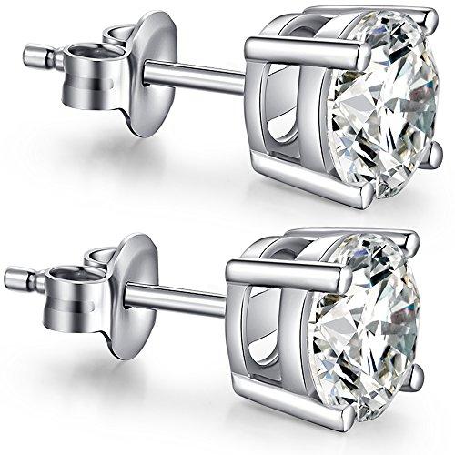 Cubic Zirconium Earrings Sterling Silver Cubic Zirconia Earrings Hypoallergenic Sterling Silver Diamond Earrings Women Fake Diamond Earrings Simple Cubic Zirconia Studs Fuax Diamond Earring Studs