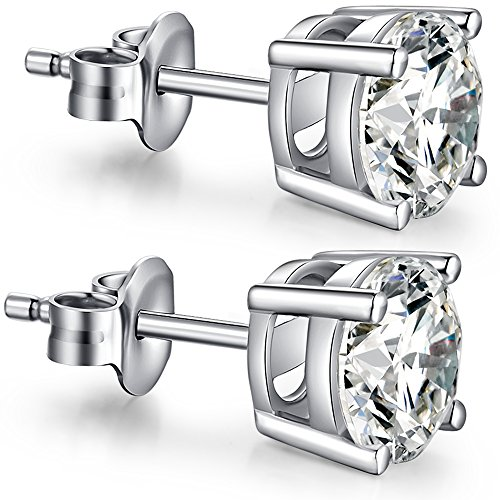 CZ Studs Silver Diamond Studs Sterling Silver Round Cut Cubic Zirconia Earrings Nickel Free Cubic Zirconium Earrings Simple Cubic Zirconia Studs 8mm Fuax Diamond Earring Studs CZ Earring Studs for Women